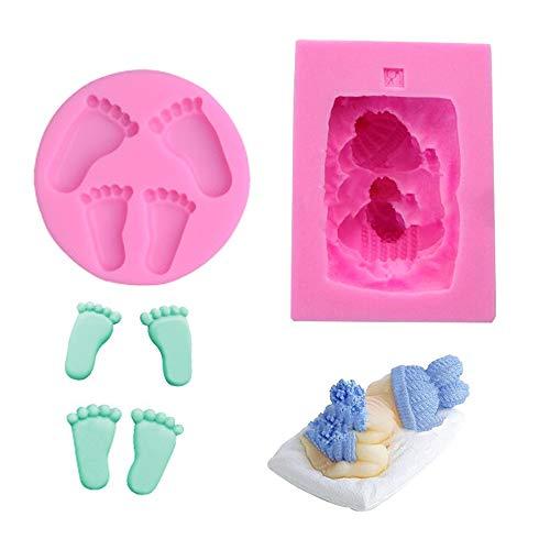 3D Baby Fußabdruck schlafendes Baby Motive Torten Rand DIY Silikonform Ausstechformen Torten Schokolade Keks Silikonformen Backen Mould Tortedeko Torten Rand Ausstecher