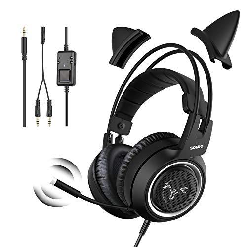 SOMiC Gaming-Kopfhörer für Xbox One, Stereo-Surround-Sound mit Geräuschunterdrückung, abnehmbares Katzenohr-Headset mit Inline-Steuerung für Jungen und Männer
