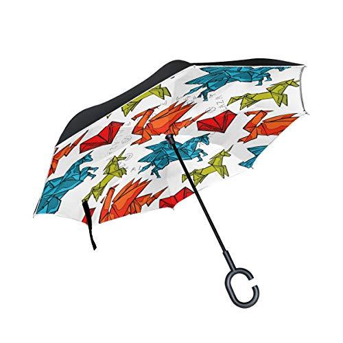 Umkehrbarer Regenschirm, Origami-Drache Einhorn Herz Winddichter Regenschirm, Umkehrschirm, Regenschirme mit UV-Schutz, umgekehrter Regenschirm mit C-förmigem Griff