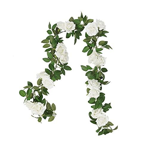 Ghirlanda di rose artificiali per decorazione alberghiera, per matrimoni, feste, artigianato, colore: bianco