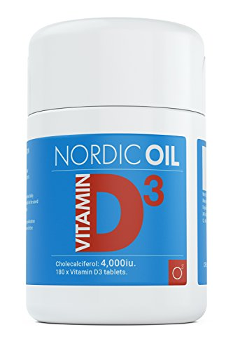 Nordic Supplements Vitamin D3 4,000 IU Tablets in Cholecalciferol Form, 180 Tablets, 6 Month Supply