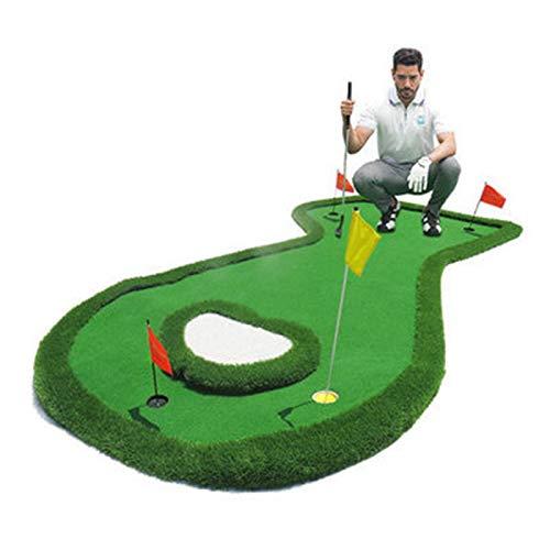 WDXLT Golf Practice Mat,4 Hoyos Profesional Putting Green,Todo El Terreno Entrenamiento A Distancia Equipo De Práctica De Golf,con Pendiente-Verde 200x400cm(79x157inch)
