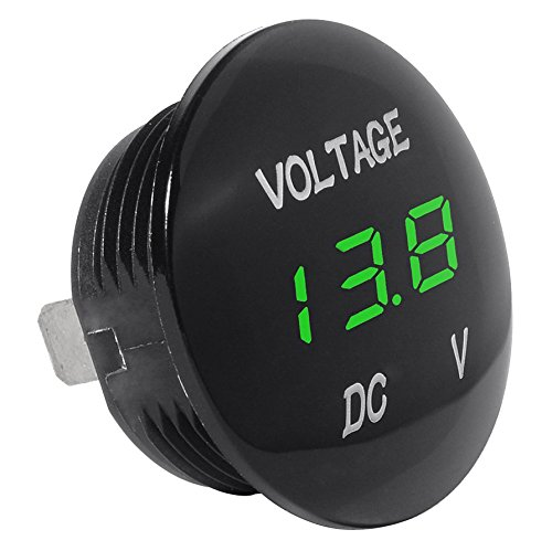SODIAL(R) Medidor Voltaje Universal Voltimetro Pantalla Digital Resistente al Agua LED Color Verde para 12V-24V DC Coche Motocicleta Automovil Camioneta