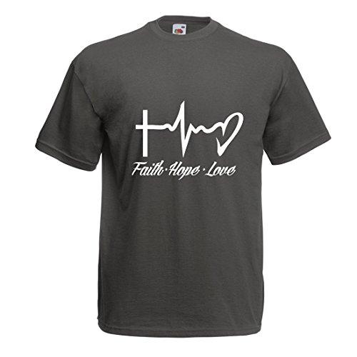lepni.me Camisetas Hombre Fe - Esperanza - Amor - 1 Corintios 13:13, Citas cristianas y proverbios, Refranes religiosos