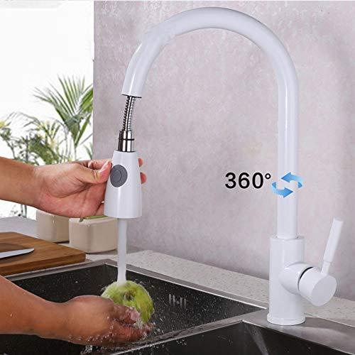 JRUIA Elegant Weiß Ausziehbar Küche Wasserhahn 360°Schwenkbar Küchenarmatur Spültischarmatur mit Herausziehbarem Geschirrbrause Einhebel Mischbatterie Spüle Spülbecken Armatur aus Messing