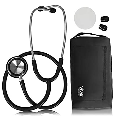 Vive Precision Stethoscope - Dual Head Diaphragm Bell for Nurses, Cardiology, Veterinary, Fetal Pediatrics Blood Pressure Kit - Double Barrel Device for Doctors, Nurses, Students