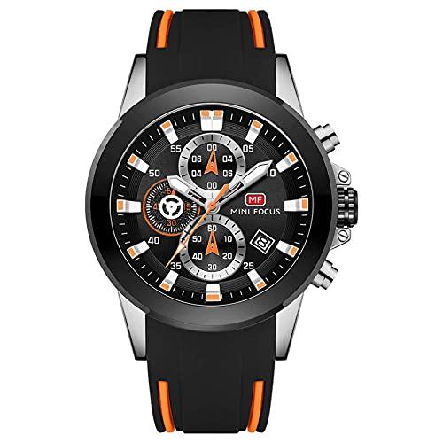 JTTM Reloj Analógico De Cuarzo para Hombre Manos Luminosas Multifunción Calendario Impermeable Cronógrafo Correa En Silicona Casual Negocio Relojes,Naranja