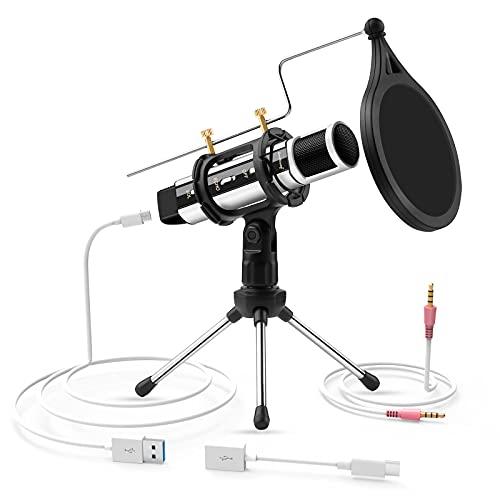 Registrazione Microfono, ZealSound Microfono a Condensatore Broadcast Mini Microfono Ottimizzato per la Registrazione Karaoke Singing Adatto per iPhone, Podcasting, Giochi, YouTube etc (Argento)