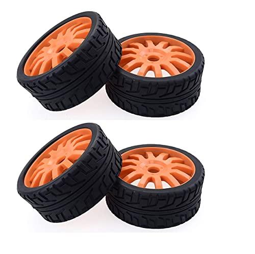 Neumático Scooter, 4 Piezas 1/8 RC Coche neumáticos Goma Ruedas plástico para Redcat Team Losi VRX HPI Kyosho HSP Carson Hobao 1/8 Buggy/Coche Carretera, Naranja