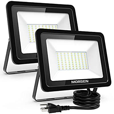 MORSEN 2 Pack 80W LED Flood Light with UL Certificated Plug, Waterproof IP66 Outdoor Floodlight, 8000lm 5000K Daylight White Security Lights, for Yard, Garden, Garage, Porch&Stair