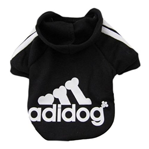 Idepet Soft Cotton Adidog Cloth for Dog, S, Black