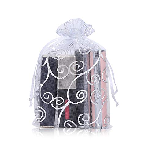 YFZYT 100 Piezas Organza Bolsas Regalo Bolsas para Joyas Bolsillo para Dulces, Bolsa Embalaje Colores para Boda Almacenes Regalo Comestibles Accesorios Pequeños - 13x18 cm, Blanco Plateado