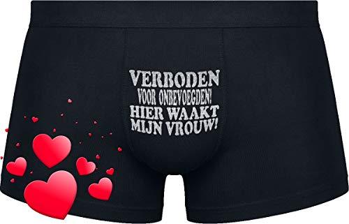 Cadeau voor de mens die alles heeft !!! | Verboden voor onbevoegden! Hier waakt mijn vrouw! | Black boxershorts