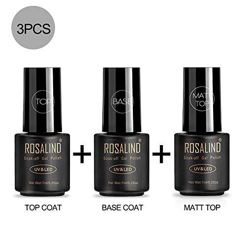 ROSALIND Top Base Matt Coat Semipermanenti, Smalto Semipermente per Unghie in Gel UV LED