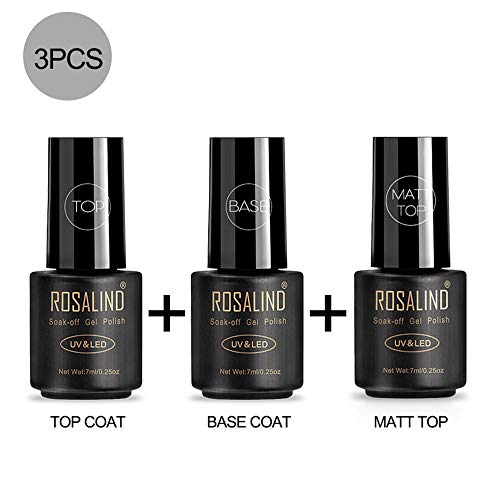 ROSALIND Base y Top Coat y Matte Top Coat Semipermentes, Esmaltes Semipermanentes de Uñas en Gel UV LED Gel Soak Off 3PCS/set 7ML