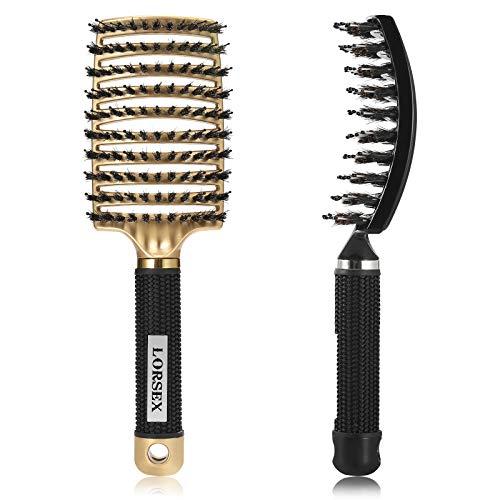 LORSEX Cepillo de pelo de cerdas de jabalí con cerdas de nailon, curvado y ventilado, para cabello natural, rizado, liso, húmedo o seco