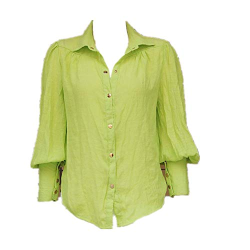 NOBRAND Camiseta de manga larga para mujer, color sólido, suelta, manga larga, para linterna.