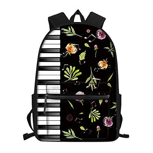 Showudesigns Schulranzen Rucksack für Teenager Mädchen Mittelschule Schwarz Piano Keyboard Flower Einheitsgröße