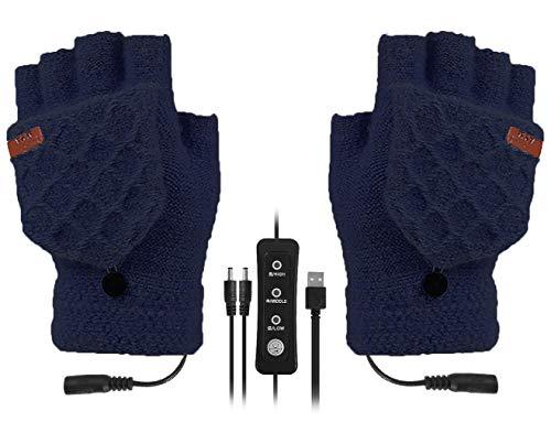 SoulQ Guantes térmicos unisex ajustables con USB, de punto, lavables a medio y dedos completos, calentadores para ordenador portátil, guantes de invierno con 3 niveles de temperatura (azul marino)