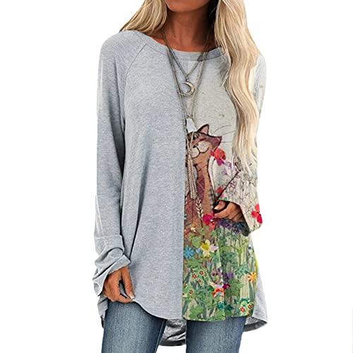 Dasongff Femme Tops Manches Longues, Blouses Femme Chic Grande Taille, T-Shirts de Imprimé Femme Grande Taille, Maillot De Corps Casual Tunique Haut Lâche Élégant Pas Cher
