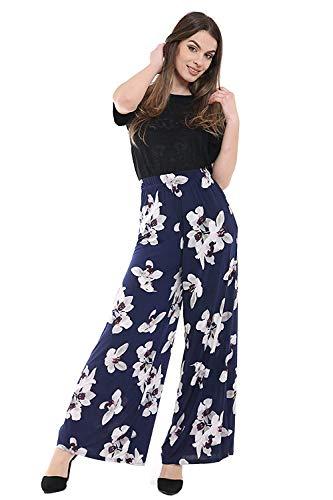 WearAll Damen Palazzohose mit weitem Bein, ausgestellt, elastisch, einfarbig, Übergröße, Größen 42–52 Gr. 46-48, Weiße Lilie