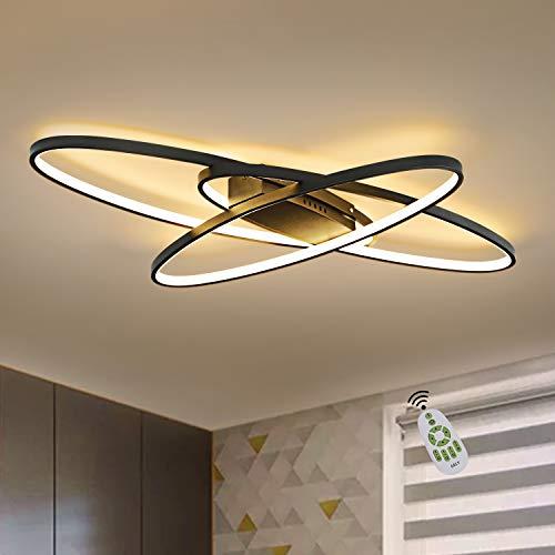 GBLY LED Dimmbar Deckenleuchte Modern Schwarz Wohnzimmerlampe Warmweiß/Neutralweiß/Kaltweiß 75W Innen Dekorative Deckenbeleuchtung für Wohnzimmer, Schlafzimmer, Küche und Büro