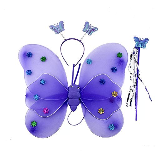 thematys Juego de 3 Piezas de Disfraces de Mariposa para niños en 3 Colores Diferentes - alas, Diadema y Varita mágica Carnaval y el Cosplay (Morado)