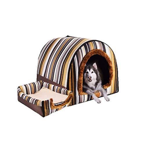JUZIPS 2-in-1 huisdierhuis en sofa, machinewasbaar, handzaam opvouwbaar, zacht, warm, hondenkat puppy huisdier-nest cave bed, 6 maten