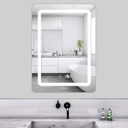LUVODI 50 x 70cm Espejo Baño Pared con Luz LED Función Antivaho con Interruptor Táctil 3 Modos Ajustables Espejo Moderno para Baño Dormitorio Maquillaje