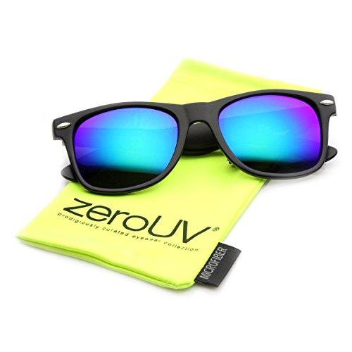 zeroUV 8025 Retro Matte Black Horned Rim Flash Colored Lens Sunglasses, Black Midnight, 50mm