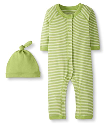 Moon and Back by Hanna Andersson Snap Front One Piece Coverall with Cap Set Infant-and-Toddler-Layette-Sets, Verde Lima (Lime Green), 0-3 Meses