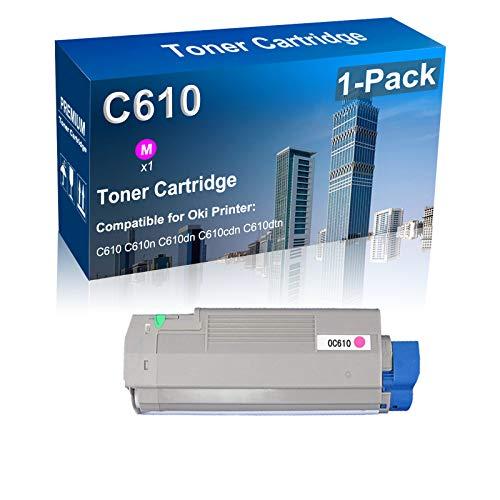 1-Pack (Magenta) Compatible Toner Cartridge Replacement for Oki (44315302) C610 Laser Toner Cartridge Fit for Okidate C610 C610n C610dn C610cdn C610dtn Printer (Texts-Clear)