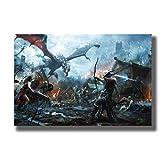 Impresión en lienzo 60x80cm sin marco el videojuego Dragon Skyrim personalizado en pulgadas póster artístico decoración del hogar