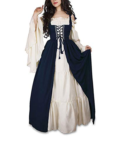 Guiran Damen Mittelalterliche Kleid mit Trompetenärmel Mittelalter Party Kostüm Maxikleid Blau L