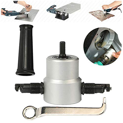 Lowest Price! Double Head Sheet Metal Nibbler Cutter | 360 Degree Cutting Accessories Adjustable Versatile Nibbler Drill Attachment Tool for Straight Curve Circle Cutting Perfect for Home DIY, Car Repair (Silvery)