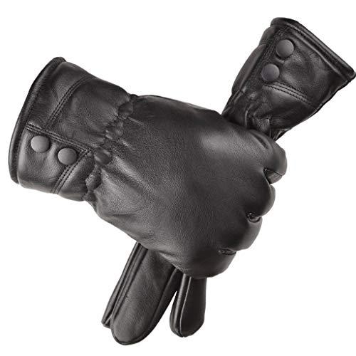 Handschuhe Herren Winter,ZHANSANFM Warme Dicke Lederhandschuhe Anti-Rutsch Winddicht Fingerhandschuhe Casual Outdoor Sports Winterhandschuhe für Fahren Radfahren Motorrad Wander A