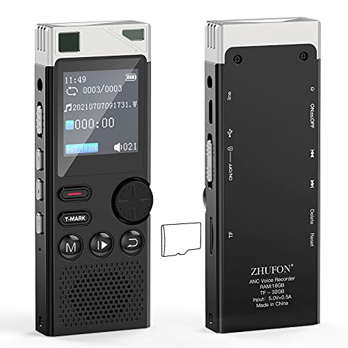 ZHUFON 48GB Voice Recorder, Active Noise Reduction Digital Audio Recorder with Wheels Design, Line-in, MP3 Player, USB Charge. Upgraded Mini Voice Recorder for Lectures, Meetings
