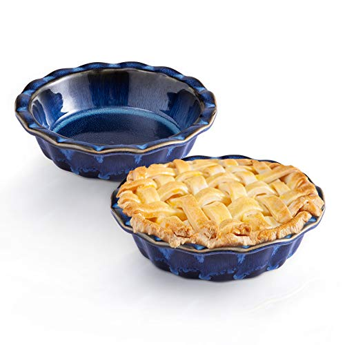 Ceramic Pie Dish, 6.7inch Porcelain Pie Pan, 2 packs Mini Pie Plates, Non-Stick Round Baking Dishes, Blue Pie Tins with Ruffled Edge,Reactive Glaze for Dessert Cake Pizza Dessert,Starry - SIDUCAL