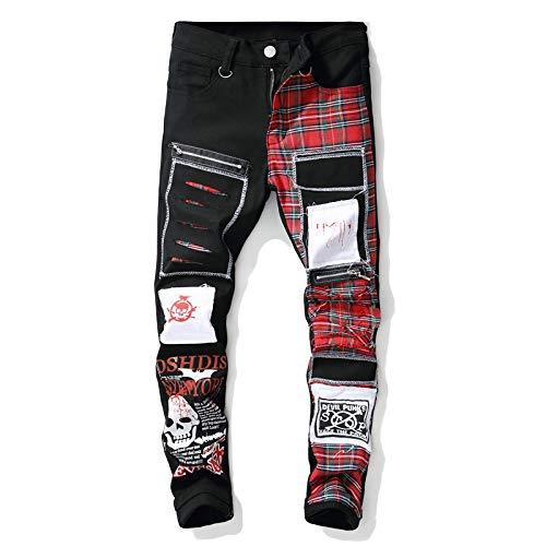 Gut aussehend Jeans Pantalon Herren Schädel Bedruckte Schottische Karierte Patchwork-Jeans Trendy Patches Design Schwarz
