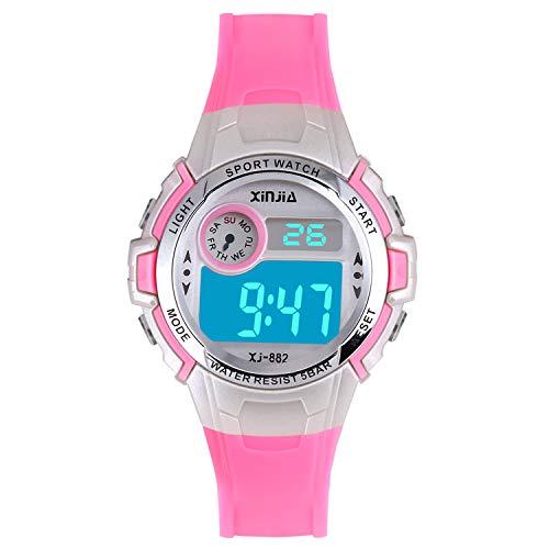 Reloj Digital para Niña Niño,Chicos Chicas 50M Impermeable Deportes al Aire Libre LED Multifuncionales Relojes de Pulsera con Alarma(Rosa)
