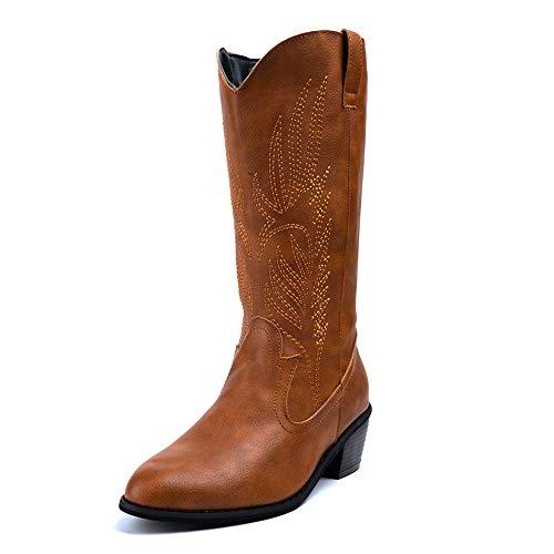 Stivali Cowboy Donna Texani Tacco Scarpe Invernali Moda Pelle Sintetica Stivaletti...
