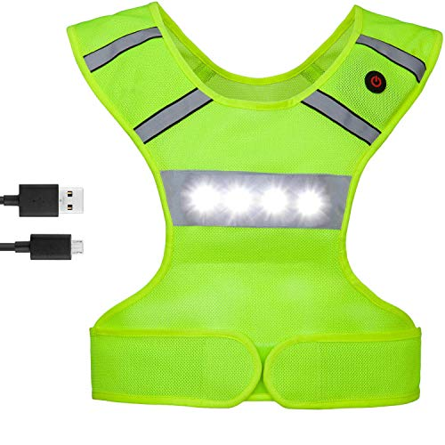 FYLARFLY Light Up Reflective Running Vest with LED Lights, USB Rechargeable, Machine Washable, Adjustable Waist Flashing Motorcycle Vest, Safety Gear & Gifts for Men Women Kids Runners (Adult)