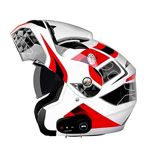 Casco De Motocicleta Modular Bluetooth Full Face Flip Up Auriculares Delanteros Tipo De Flip-Tipo Dual Sun Sun Helmet Casco Integral DOT ECE Aprobado Para Hombres Y Mujeres,H,L