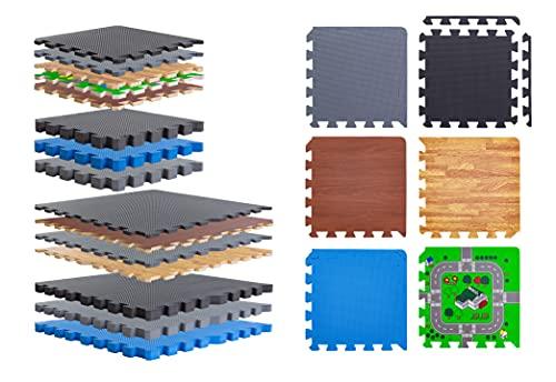 BodenMax Tappetino fitness per palestra a puzzle | Nero 18 pezzi 30x30x1 cm | Superficie di protezione per pavimento insonorizzante | Materassino antitrauma ad incastro per workout tatami allenamento