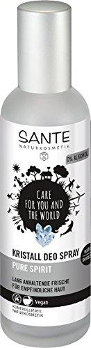 SANTE Naturkosmetik Kristall Deo Spray, Mindert Schweißproduktion, Mild & hautverträglich, Ohne Alkohol, Vegan, 100ml