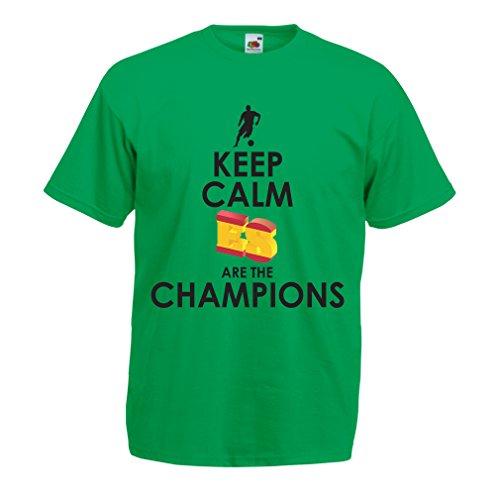 lepni.me Camisetas Hombre Españoles Son los campeones, Campeonato de Rusia 2018, Copa del Mundo - Equipo del fútbol de Camisa del admirador de España (Small Verde Multicolor)