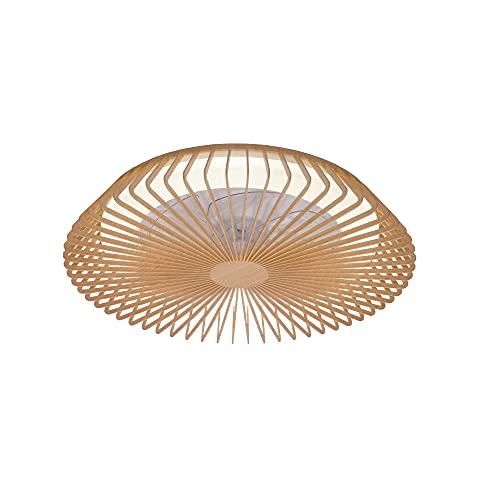 Mantra Iluminación. Modelo HIMALAYA. Ventilador y plafón de techo de 63 cm de diámetro en color madera. Fuente de luz LED 70W 2700K-5000K 4900lm. Ventilador 35W