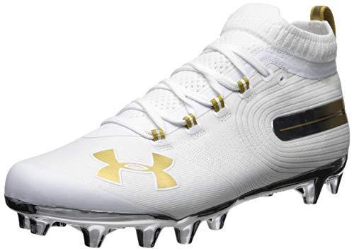 Under Armour Men's Spotlight MC Lacrosse Shoe, White (101)/Metallic Gold, 15 M US