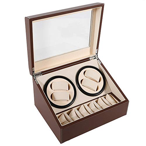 4 + 6 Watch Winder PU Leather watch winder Automatic Watches Box EU Adapter avvolgitore