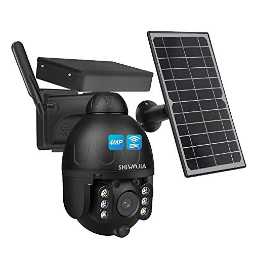 4MP Solar Telecamera mit Batteria Ricaricabile, SHIWOJIA Telecamera WiFi Esterno Senza fili con Visione Notturna a Colore, IP67 Impermeabile, PIR Sensore di Movimento, Scocca in Metallo